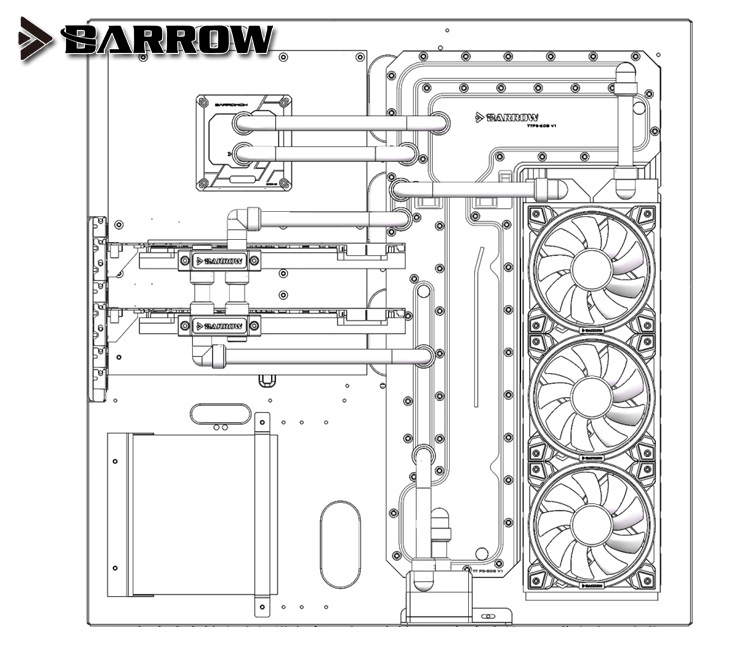 Купить с кэшбэком Barrow Acrylic Board Water Channel Solution kit use for TT Core P5 Computer Case / Kit for CPU and GPU Block / Instead Reservoir