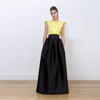 Elegant Black Full Skirt Wide Ribbon Waistline A Line Floor Length Long Maxi Skirt Custom Made