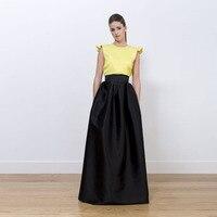 Elegant Black Full Skirt Wide Ribbon Waistline A Line Floor Length Long Maxi Skirt Custom Made