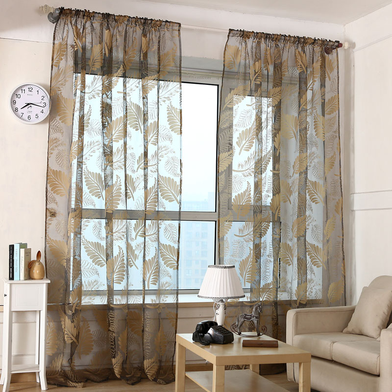 1*2 M Modern Style Leaves Pattern Window Voile Curtains For Home Living Room  Valances