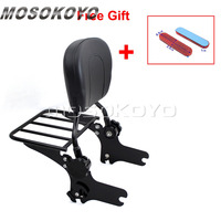 Red Reflector Black Motorcycle Detachable Sissy Bar Backrest Luggage Rack for Harley Touring Road King Street Glide 1997 2008