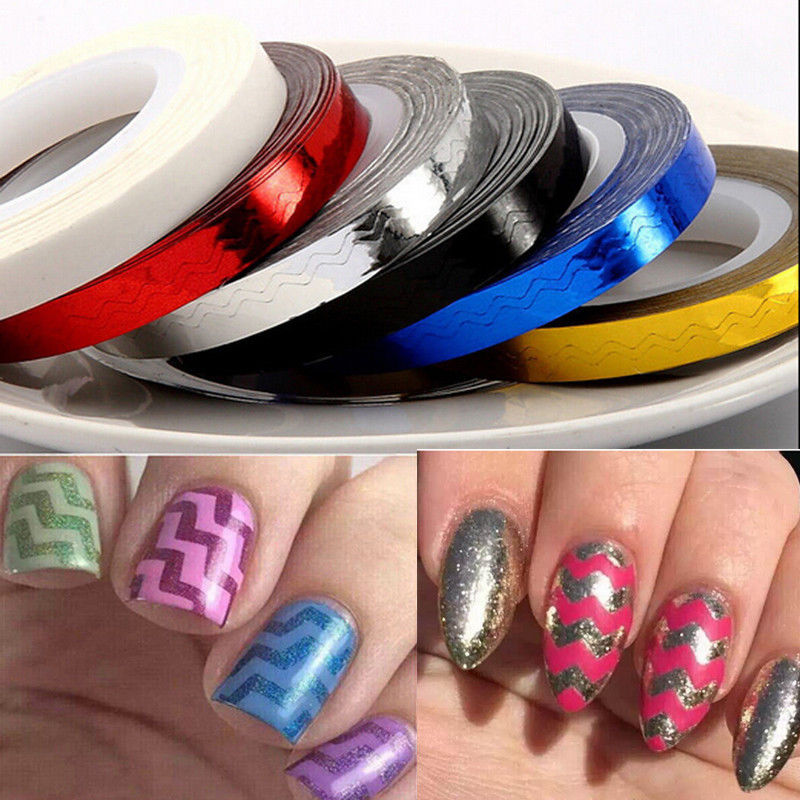 Aliexpress 1pc 6mm Wave 6colors For Your Chevron Nail Striping Tape Colorful Art Line Stickers Lines Xfe452214007 From