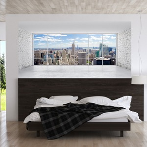 Image 2 - City Building Scene Wall Sticker Bed Head Stickers Wall Sticker For Dorm Room Bedroom Home Decor