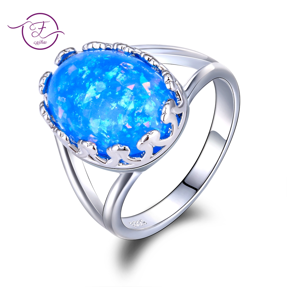 Hot Sale Oval Blue Opal Rings Gemstone Silver 925 Jewelry Womens Party Ring Fashion Engagement Jwelry Dropship Full Size 6-10Hot Sale Oval Blue Opal Rings Gemstone Silver 925 Jewelry Womens Party Ring Fashion Engagement Jwelry Dropship Full Size 6-10