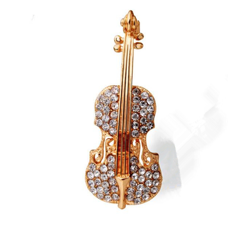 Bovvsky Fashion Gold color Guitar lapel Brooch pin Crystal Violin Scarf Brooches for Wom ...