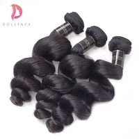 Dollface Loose Wave Indian Virgin Hair Human Hair Weave Bundles Unprocessed Weave Extension Natural Color 3PCS Free Shipping