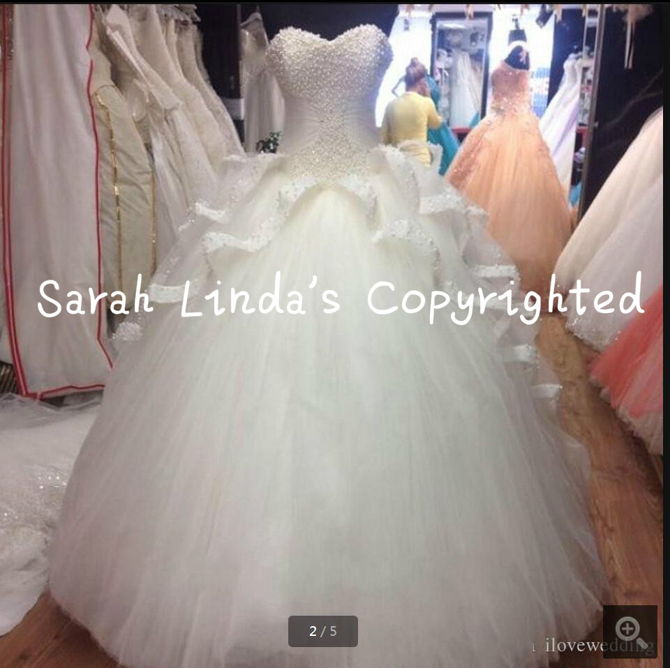 2016 free shipping ball gown white pearls wedding dress princess puffy layered wedding gowns sweet 16 formal bride dress