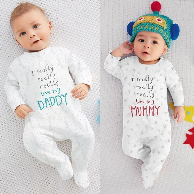 цена 2016 wholesale dropshipping newborn baby boy girl I love mum dad letter printed cotton long sleeve rompers for 0-24M онлайн в 2017 году