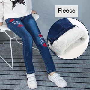 Image 5 - צמר ג ינס עבור בנות חורף ילדי בגדי 2019 בגיל ההתבגרות כותנה עבה חם קאובוי חותלות אלסטיות ג ינס מכנסיים ילדה 12 שנים