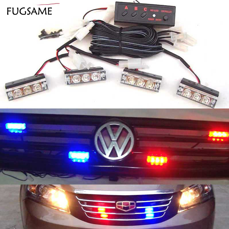 FUGSAME Car Red Blue White Green Amber Yellow 4x3 12LED Strobe Flash Warning Light Police Ambulance Light Flashing Lights DC12V hsp high brightness white red blue yellow light 12 led system for 1 10 1 8 r c car