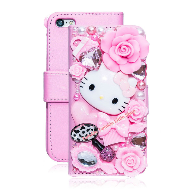 DIY High Quality Cute Diamond Flip Phone Leather  Rhinestone Case Cover For iPhone5 5s 5c