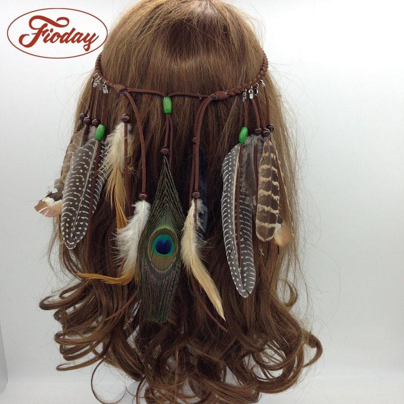 2018 Women Feather Hairband Hair Comb   Headwear   Indian Boho Headband Headpiece Bohemian Tassel Hair Accessories Folk Hairgrips