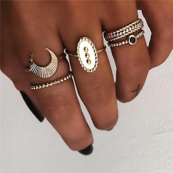 Yobest Punk 5pc/Set Antique Gold Color Boho Female Charms Moon Ring For Women Fashion Jewelry