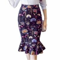 S-5XL נשים עיפרון חצאיות 2018 סתיו אלגנטיות סקסית גבוהה מותן חצאית גבירותיי משרד פורמליות הדפסת חורף חצאית בתוספת גודל
