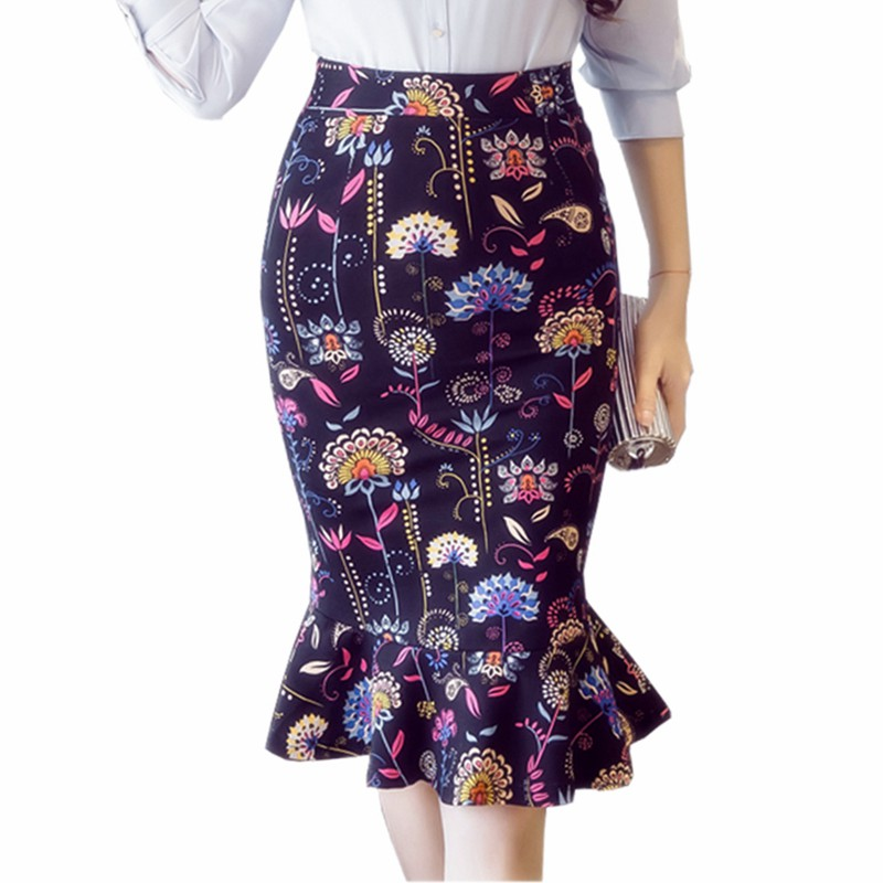 S-5xl Frauen Bleistift Röcke 2018 Herbst Elegante Sexy Hohe Taille Rock Vintage Damen Büro Formalen Winter Druck Rock Plus Größe