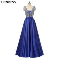 Vestido De Festa Longo 2019 Evening Dresses Long Dress Navy Blue Satin With Bead V neck Evening Dress Robe De Soiree Party Dress