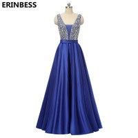 Vestido De Festa Longo 2018 Evening Dresses Long Dress Navy Blue Satin With Bead V neck Evening Dress Robe De Soiree Party Dress