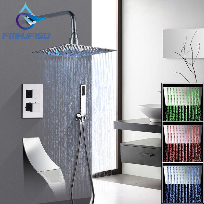 Thermostatic Faucet 12 inch Square Bathroom Shower Faucet Set Rainfall LED Shower Head Waterfall Spout