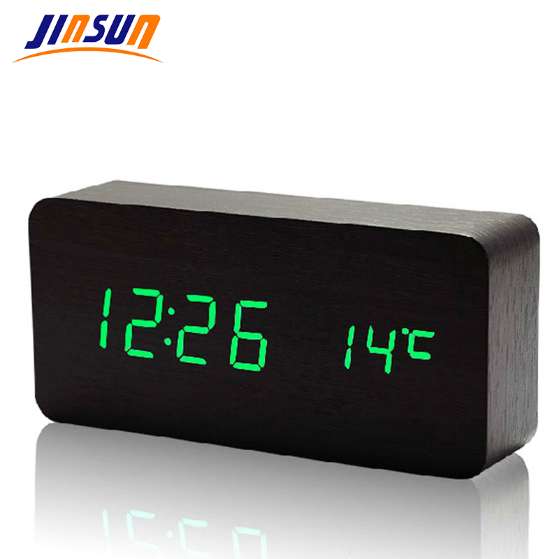 JINSUN Moderní senzor Dřevěné hodiny Dual led display Bamboo Clock digital alarm Clock Show Temp Time Voice Control KSW104-CT-BK-GN