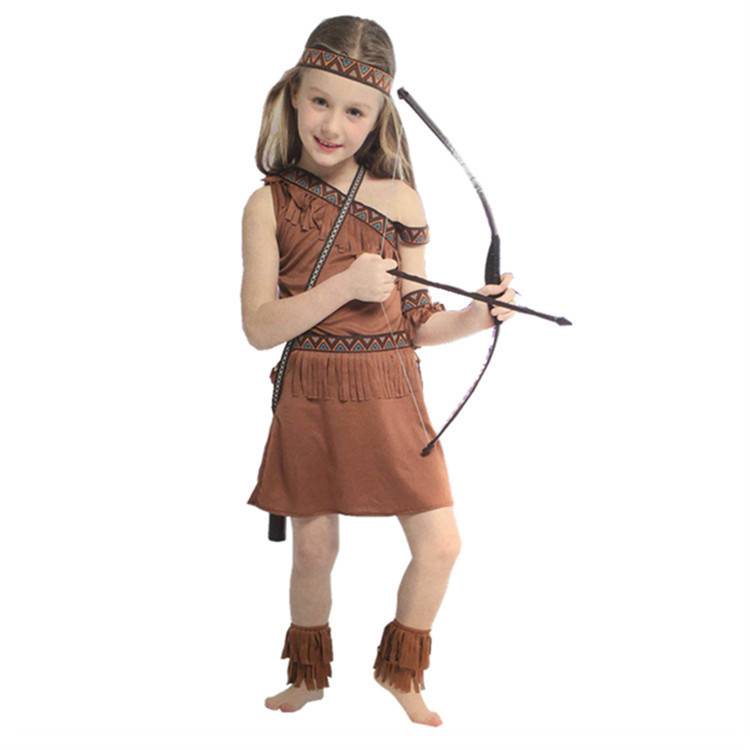 Native American Girls Cosplay Halloween Costumes for Kids Indian Princess Costumes Girl Carnival Hunter Costume Party Disfraz