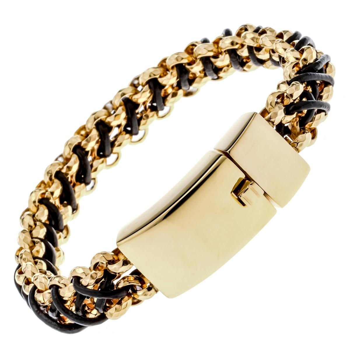 mens stainless steel black leather link chain bracelet. Black Bedroom Furniture Sets. Home Design Ideas