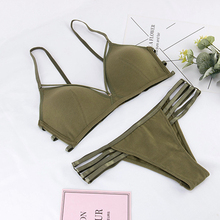Wriufred Comfortable Strap Triangle Cup Bra Set Cotton Sexy Hollow Out lingerie Women Underwear Brassiere Sets Plus Size Bras