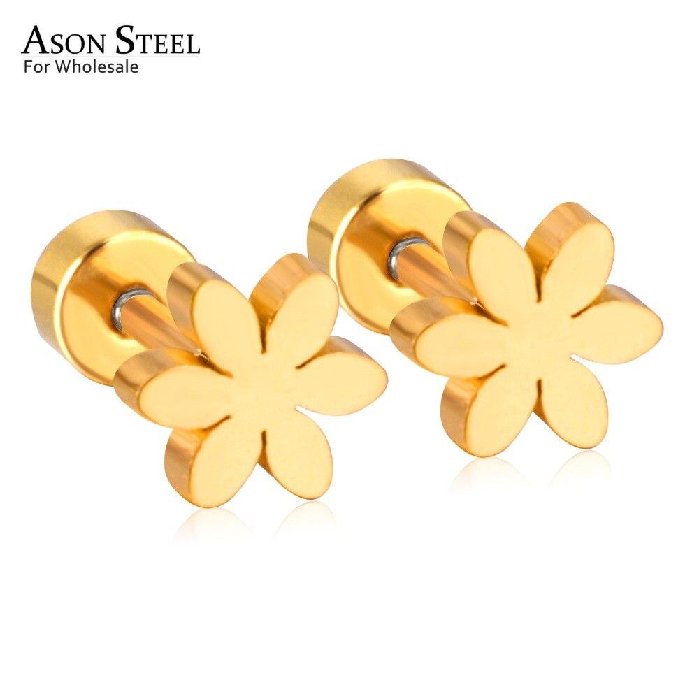 Женские серьги-гвоздики из нержавеющей стали, золотого цвета