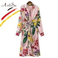 ArtSu Europe Women Vintage Floral Striped Long Shirts Kimono Pleated Blouses 2017 Fashion Cardigan Blouse Blusas