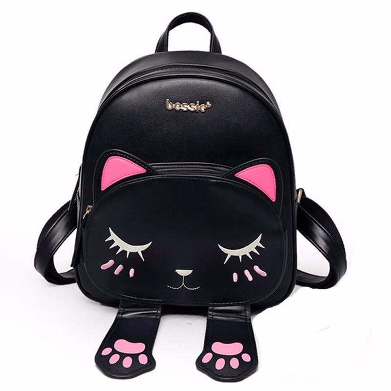 Cat Backpack Black Preppy Style School Backpacks (2)