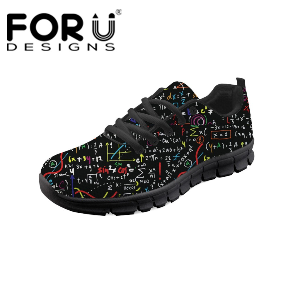 FORUDESIGNS Math Formula Summer Mesh Women Flat Shoes Cartoon Sneaker Shoes for Girls Ladies Fashion Light Weight Lace Up Flats pinsen fashion women shoes summer breathable lace up casual shoes big size 35 42 light comfort light weight air mesh women flats