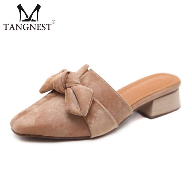 876f50f9a31 Tangnest NEW Summer Faux Suede Leather Slippers Women Close Toe Slip-on Wedge  Sandals Sweet Butterfly-knot Slingback Shoes