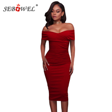 SEBOWEL Sexy Red/White/Black Off Shoulder Bodycon Ruched Dress 2019 Women Summer Short Sleeve Bardot Party Midi Dresses Vestidos