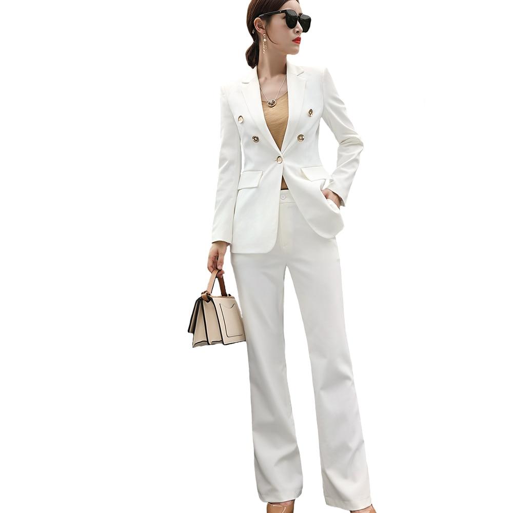 Large Crayon White D'affaires Femmes Bureau Suit Blue 2 Apparel White Carrière Suit Ol Black Costume Suit slim Slim Pant Ensemble Pantalon wide jambe Professionnellement Blanc wide Dames Blazer Pcs Leg wide Ou Black z4EqwY