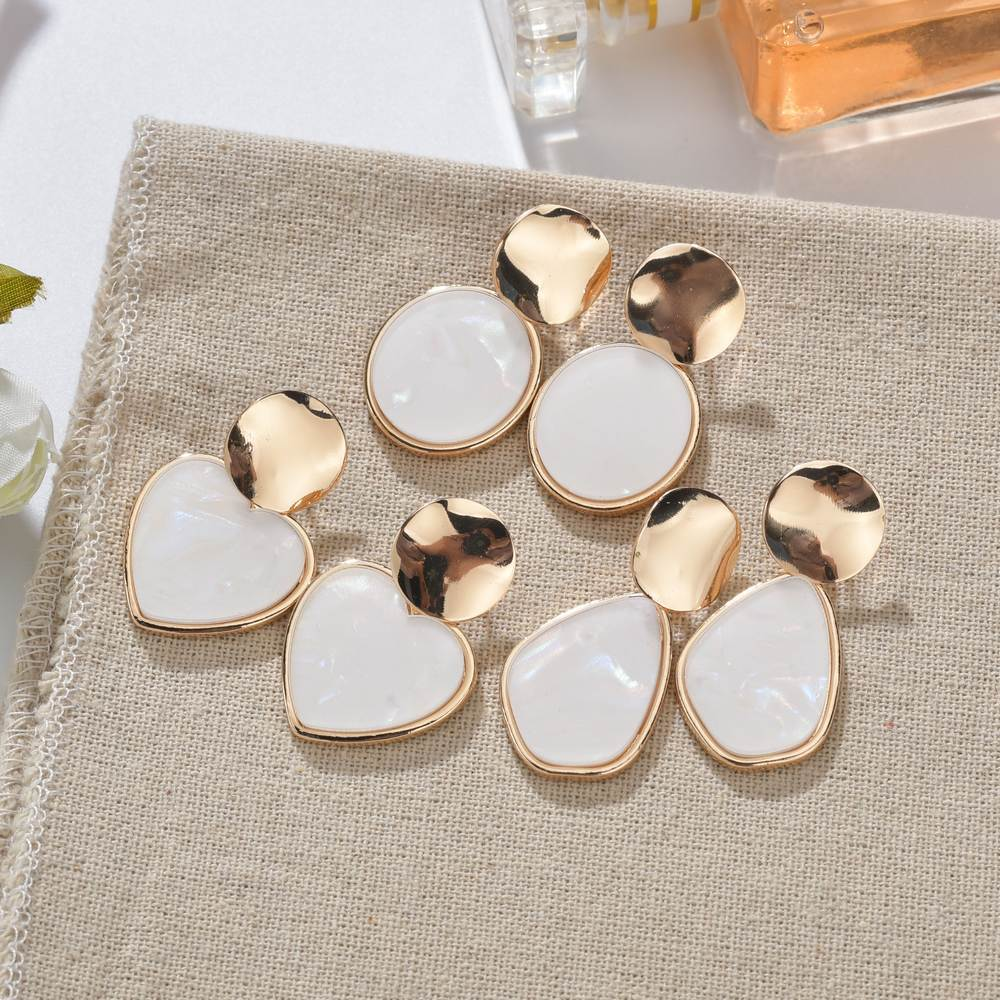 Korean Vintage Geometric Dangle Earring For Women Round Heart Gold Color Fashion Drop Earrings Brincos Jewelry 2019 New