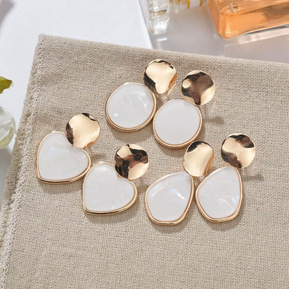 Korean Vintage Geometric Dangle Earring For Women Round Heart Gold Color Fashion Drop Earrings Brincos Jewelry 2019 New