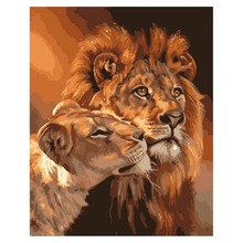 Cute Animal DIY Painting,painting by number kits-horse Tiger Lion Cat Swan Pig On Canvas Gifts 16x20 inch (Frameless)