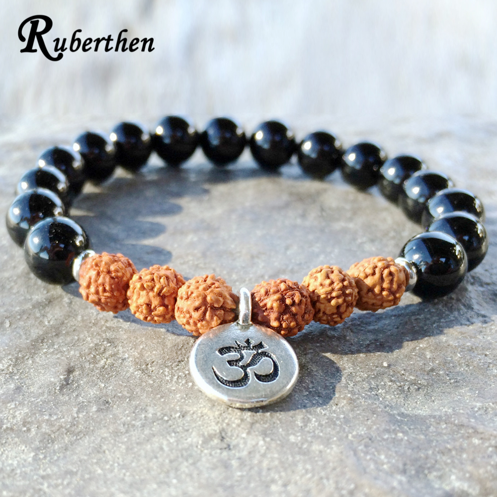 Ruberthen 2017 New Design Grade Black Stone Rudraksha Bracelet High Quality Onyx Bracelet Rustic Yogi Mala Beads Free Shipp все цены