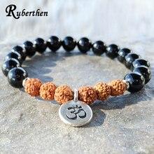 Ruberthen 2017 New Design Grade Black Stone Rudraksha Bracelet High Quality Onyx Bracelet Rustic Yogi Mala Beads  Free Shipp