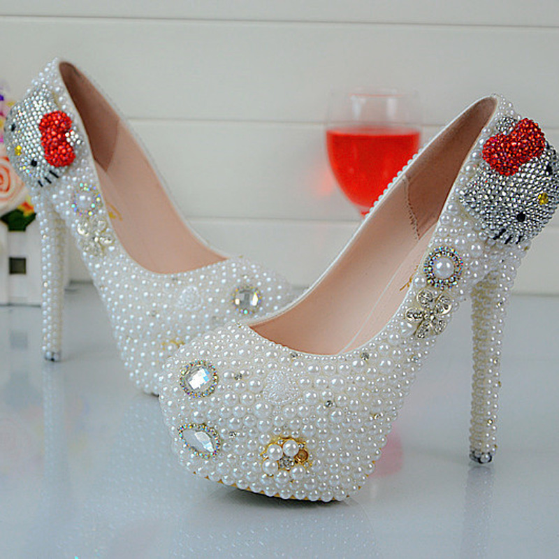 цена на Cartoon Hello Kitty Rhinestone Wedding Shoes White Pearl Spring Autumn Red Party Shoes Anniversary Party Prom Heels Big Size 45