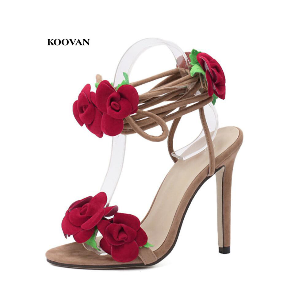 Koovan Women's Sandals 2018 New Flowers Sandal Red Rose Flower Cross-tie High-heeled Shoes Size 42 Sexy Lady