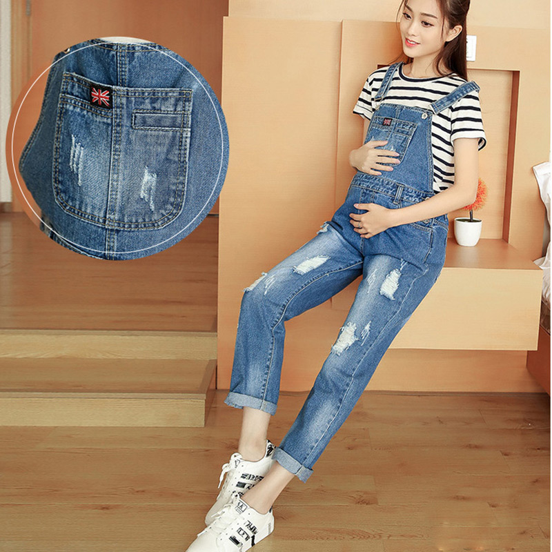 Adjustable Bib Jeans Maternity Dungarees Hole Pockets Suspenders Clothes for Pregnant Women Long Pants Casual Pregnancy Clothing denim overalls male suspenders front pockets men s ripped jeans casual hole blue bib jeans boyfriend jeans jumpsuit or04