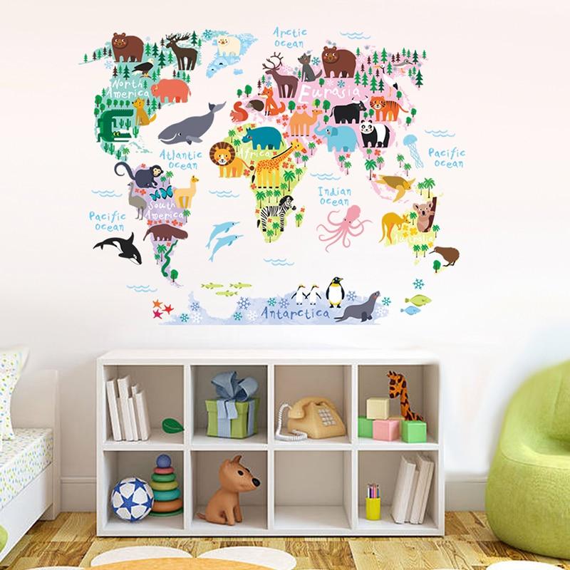 Animals Map Of World Wall Stickers Kids Room Kindergarten