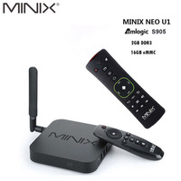 Original MINIX NEO U1 Android TV Box Amlogic S905 Quad Core 2G/16G 802.11 2.4/5GHz WiFi H.265 HEVC 4K Ultra HD Smart TV Box