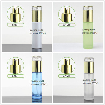 60ml pearl white/green/blue/frosted glass bottle gold pump&lid for serum lotion emulsion foundation skin care cosmetic packing