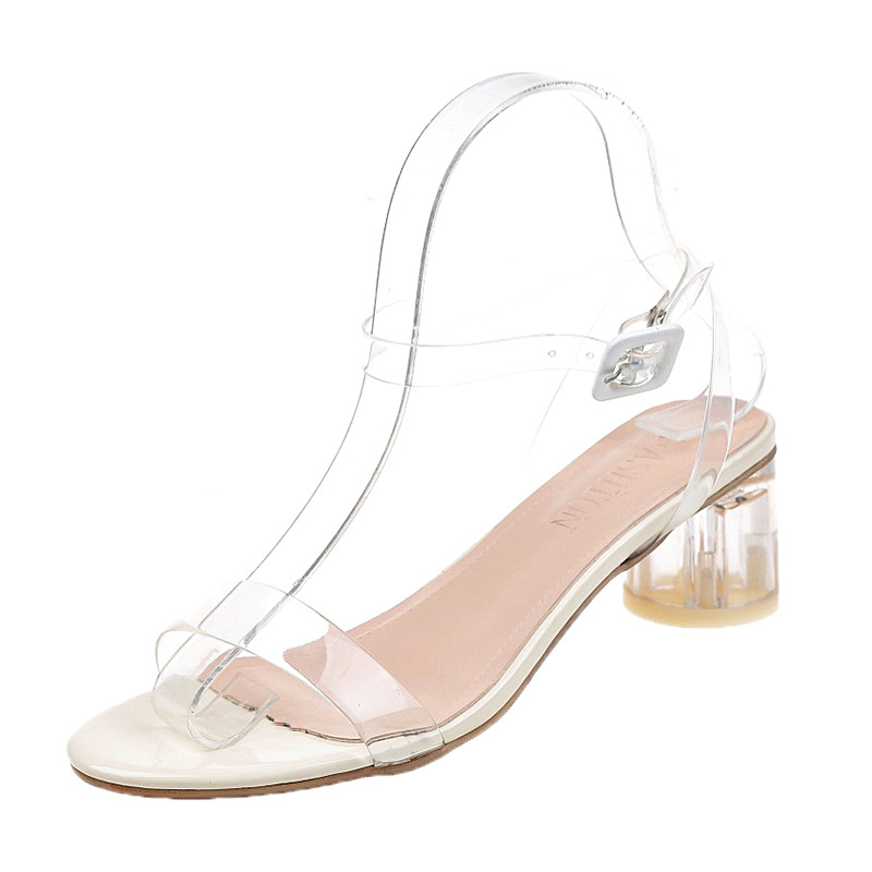 Sandals female 2019 summer new thick with a word buckle with transparent wafer and heel shoesSandals female 2019 summer new thick with a word buckle with transparent wafer and heel shoes