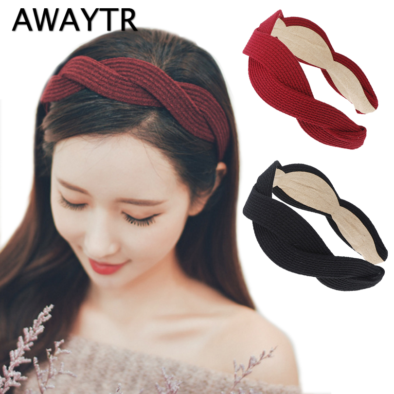AWAYTR Cross Headband 2019 New Spring Hairband 5 cm Wide Women Fashion   Headwear   Wine Red Color Hair Accessories