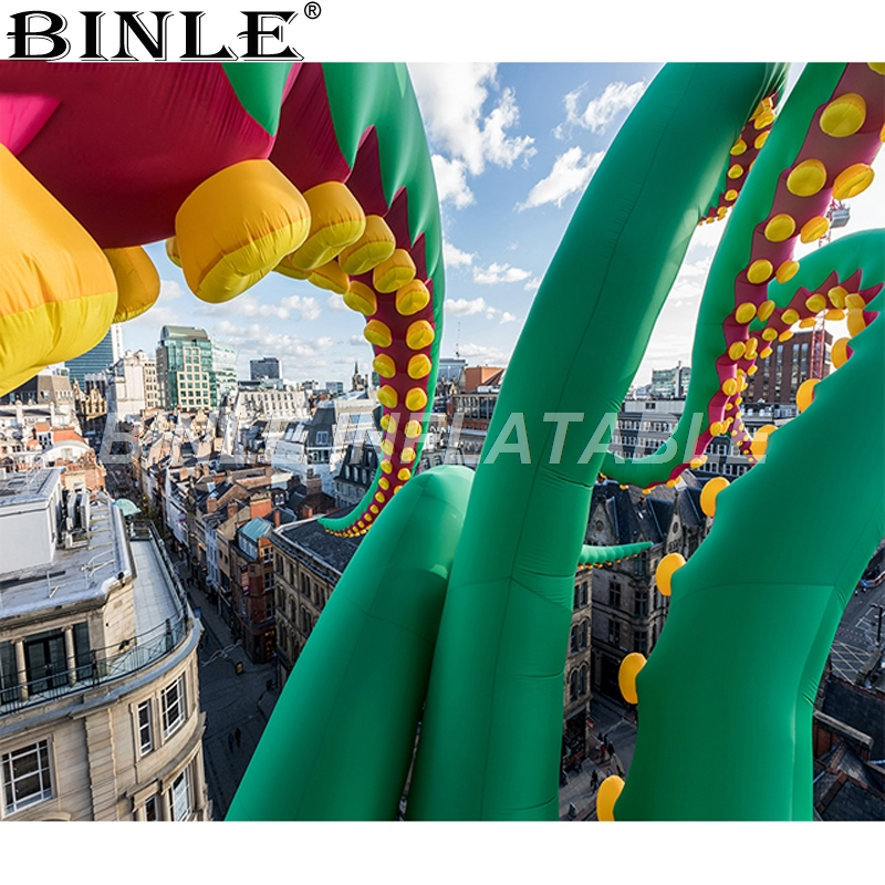 Hot selling oversized green inflatable octopus tentacles giant jellyfish  legs balloon for outdoor party decoration