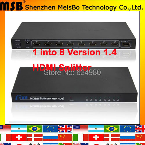 TOP Speed 1 to 8 HDMI splitter 1080p 8 ports output 1.4v 3D HDMI Swicth 1*8 Audio and Video HDMI HD Divider aixxco hdmi splitter audio decoder 4k