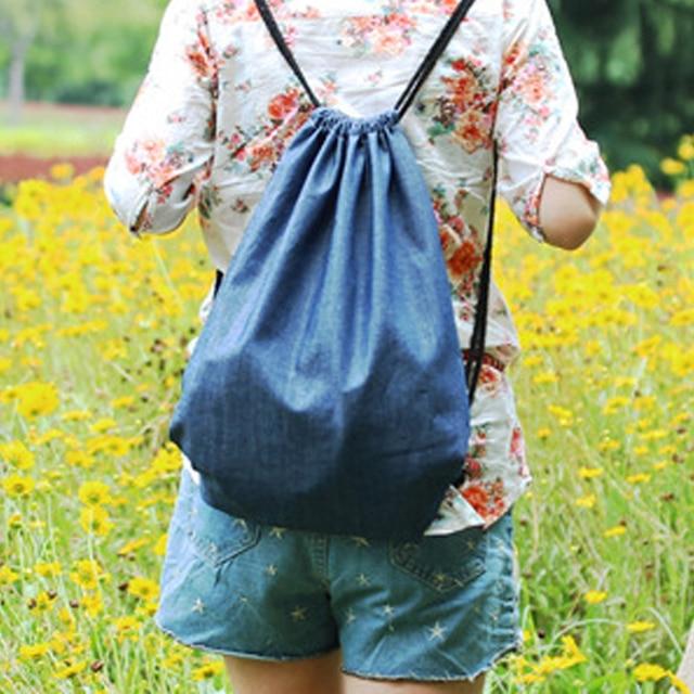 New Arrive Vintage Jean Backpacks High Quality Soild Draw String Backpack  Blue Women Bags Boys Girls School Bag Free Shipping