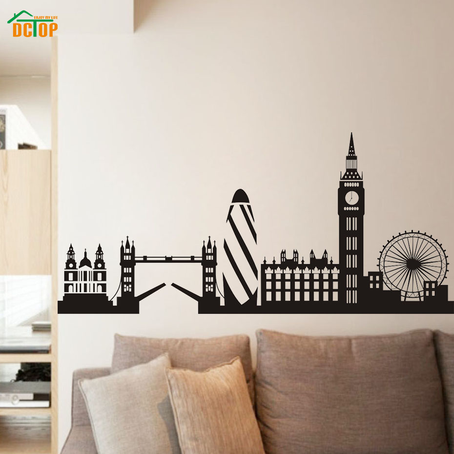 City building london skyline silhouette wall stickers for living city building london skyline silhouette wall stickers for living room big ben landmark vinyl wall art decals posters home decor in wall stickers from home amipublicfo Image collections